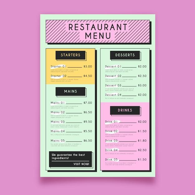 Colorful restaurant menu template Free Vector
