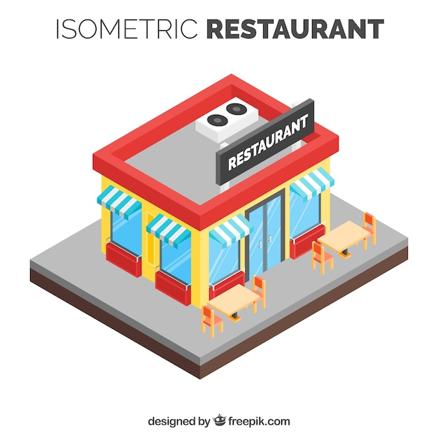 Colorful restaurant with isometric perspective
