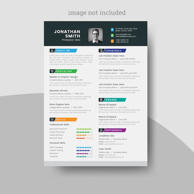 Colorful resume or cv for your job application Premium Vector
