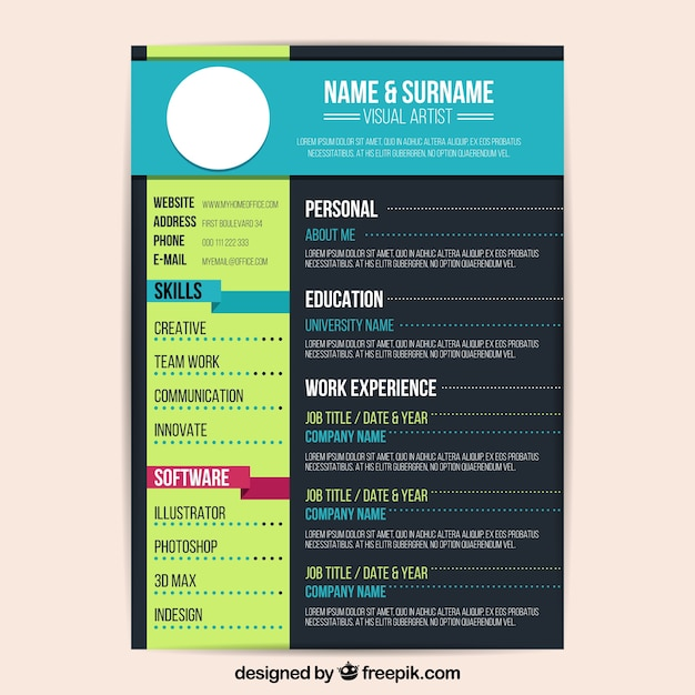 Great Colorful Resume Template Free Vector