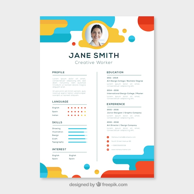 Wonderful Colorful Resume Template Free Vector