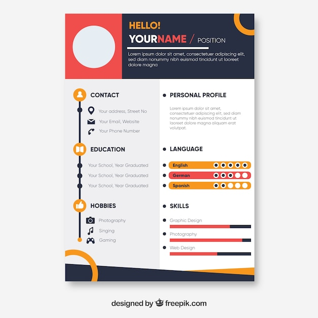 colorful resume template free vector