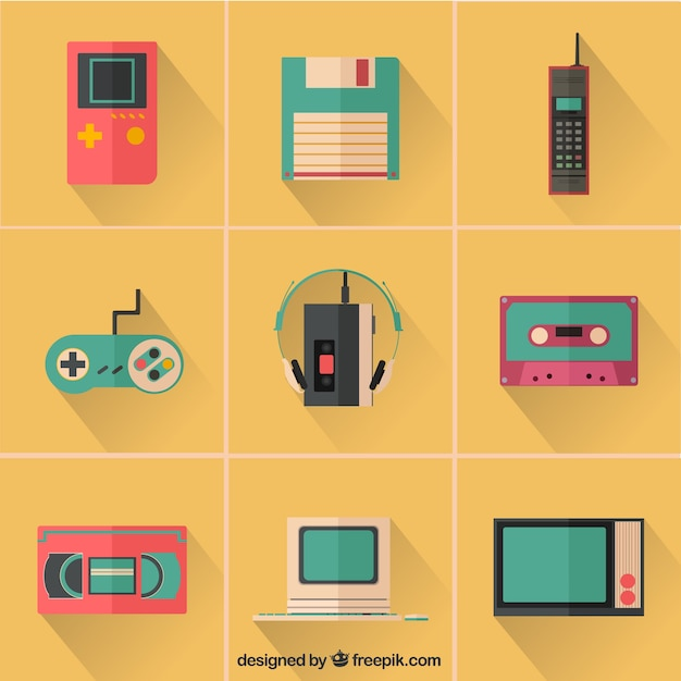 Colorful retro device icons Premium Vector