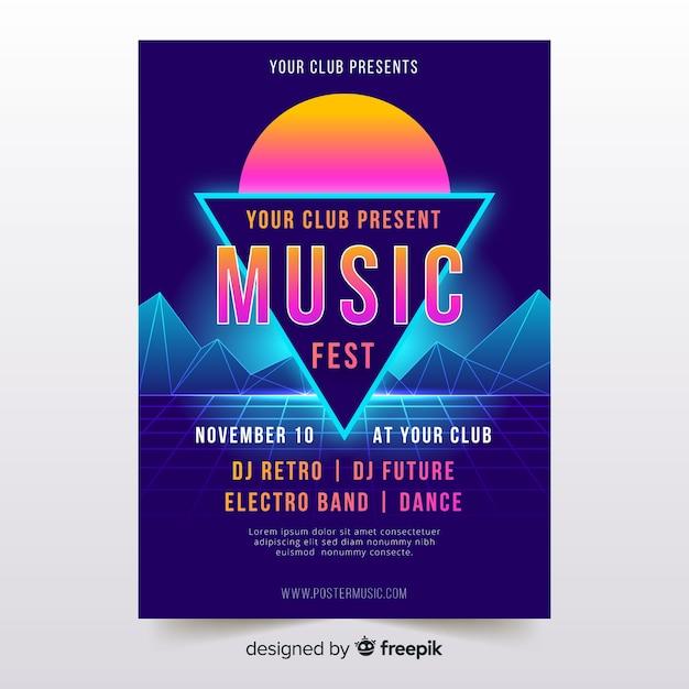 Colorful retro futuristic music poster Free Vector