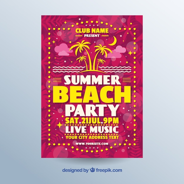 Colorful retro party invitation on the beach Free Vector