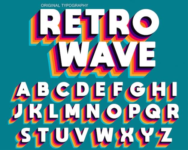 Colorful retro typograhy font design Premium Vector