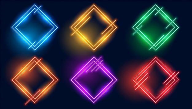 Colorful rhombus or diamond shape neon frames set Free Vector