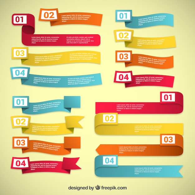Colorful ribbons template collection Premium Vector