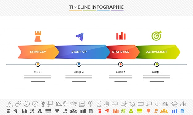 colorful roadmap timeline infographics layout with 3 step arrows and two variations of icons premium