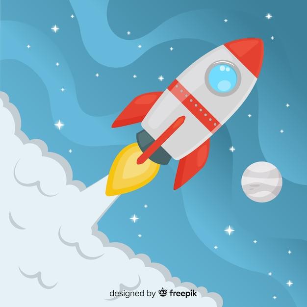 Красочная ракетная композиция с плоской конструкцией Premium векторы