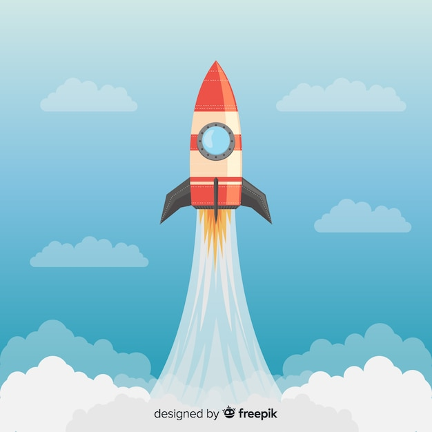 Colorful rocket composition with flat design Free Vector