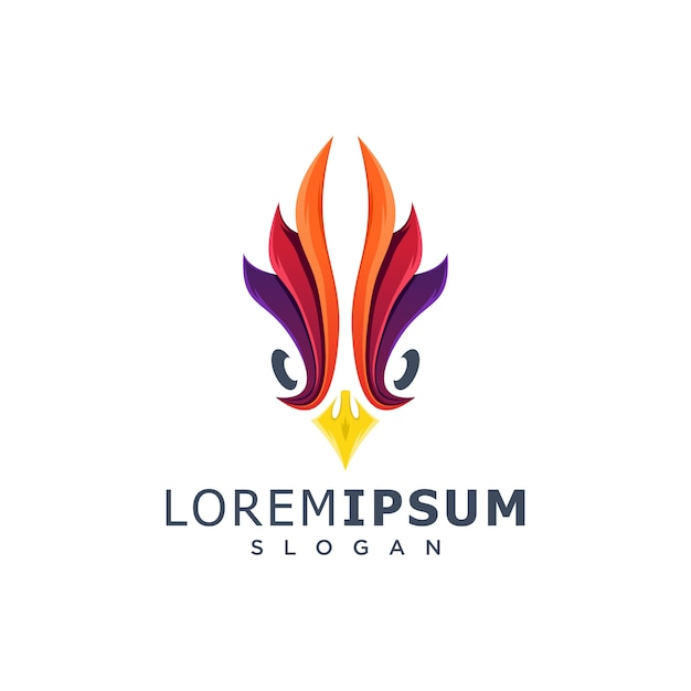 Colorful rooster head logo Premium Vector
