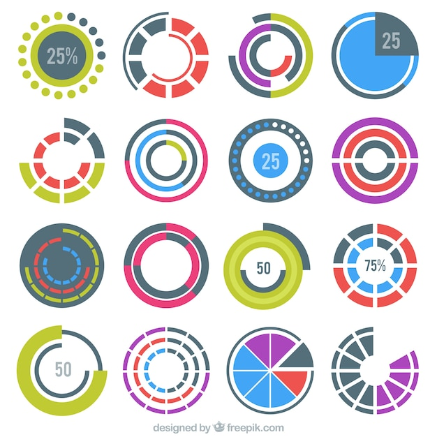 Colorful round preloaders Free Vector