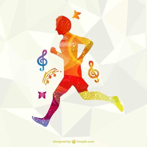 Colorful running athlete
