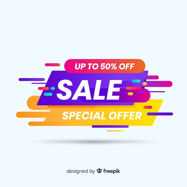 Colorful sale background flat style Free Vector