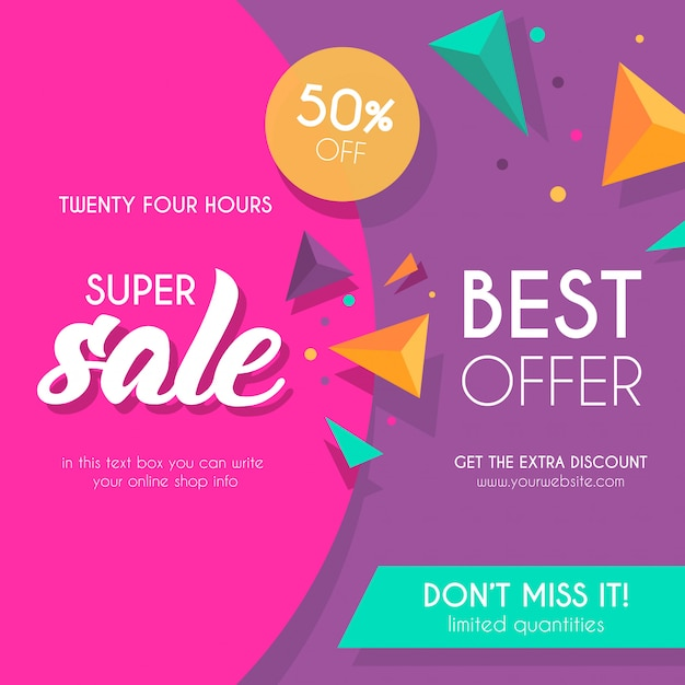 Colorful Sale Background with Triangles Free Vector