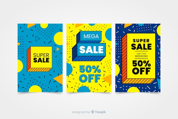 Colorful sale banner collection in memphis style Free Vector