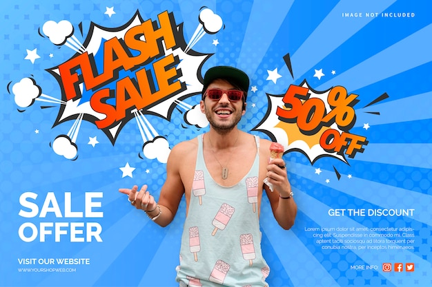 Colorful sale banner in comic style Free Vector