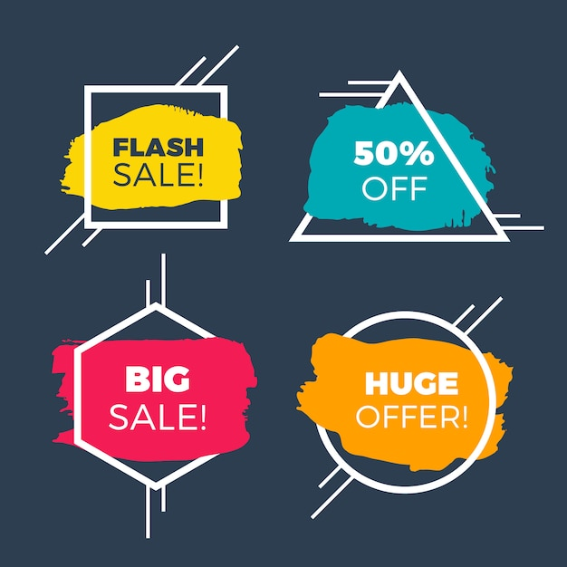 Colorful sale banner with brush strokes Free Vector