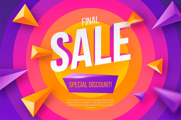 Colorful sale banner with geometric shapes Free Vector