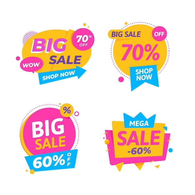 Colorful sale banners collection design Free Vector