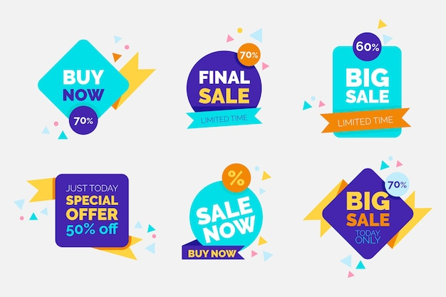Colorful sale banners collection Free Vector