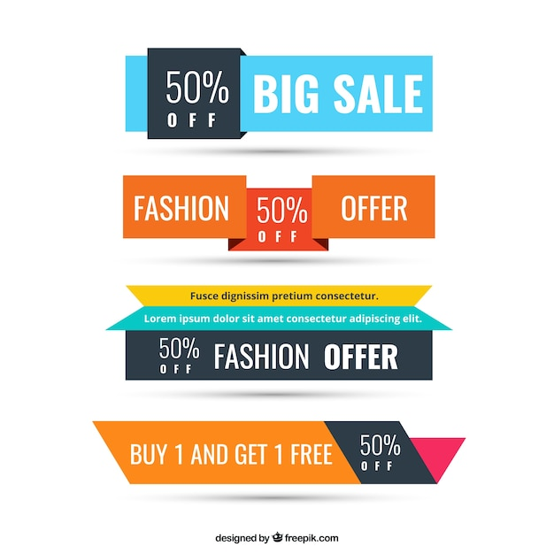Offer banner vectors photos and psd files free download colorful sale banners pronofoot35fo Choice Image