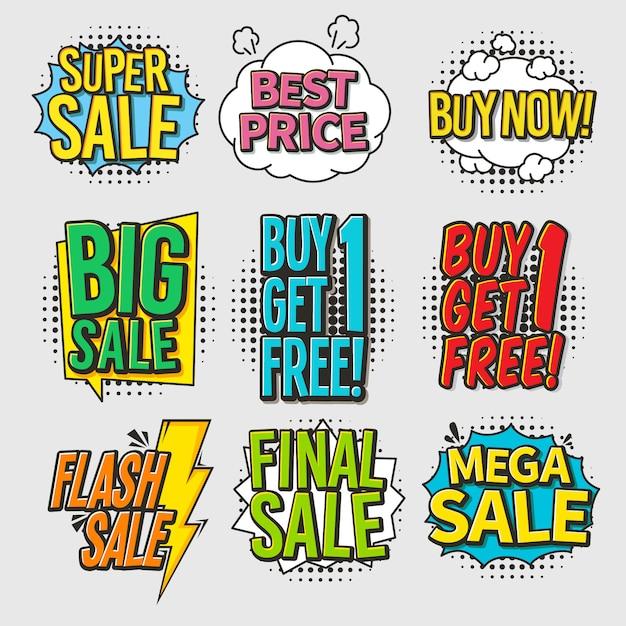 Colorful sale comic bubbles set with halftone effect Premium Vector