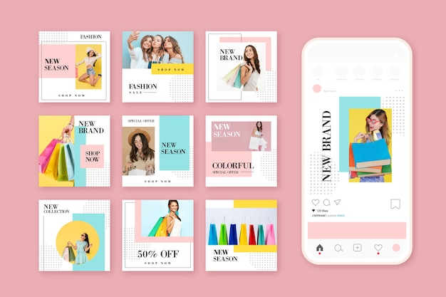 Colorful sale instagram post collection Free Vector