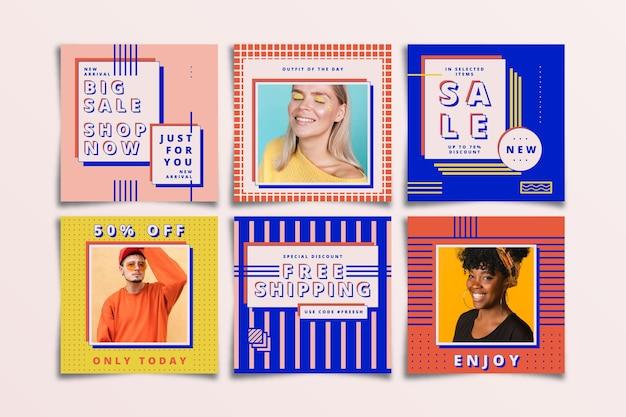 Collezione post vendita instagram colorato Vettore gratuito