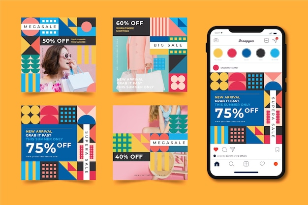 Красочные продажи instagram сообщений пакет Бесплатные векторы
