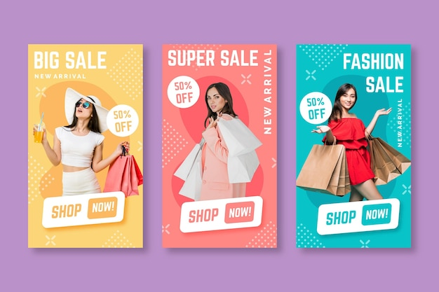 Colorful sale instagram stories Free Vector