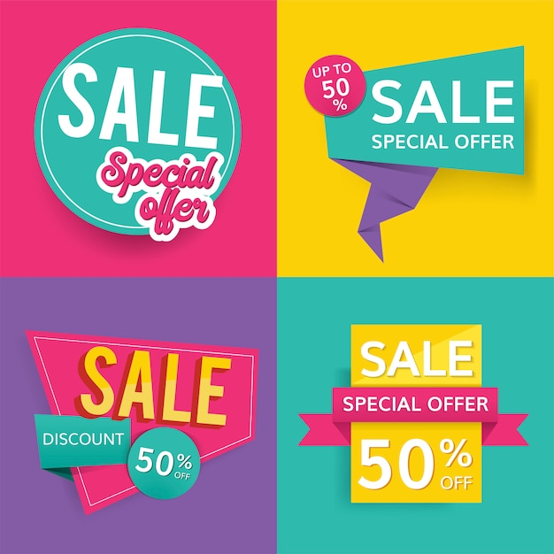 Colorful sale signs Free Vector