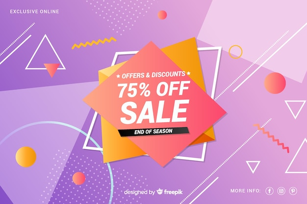 Colorful sales background geometric design Free Vector