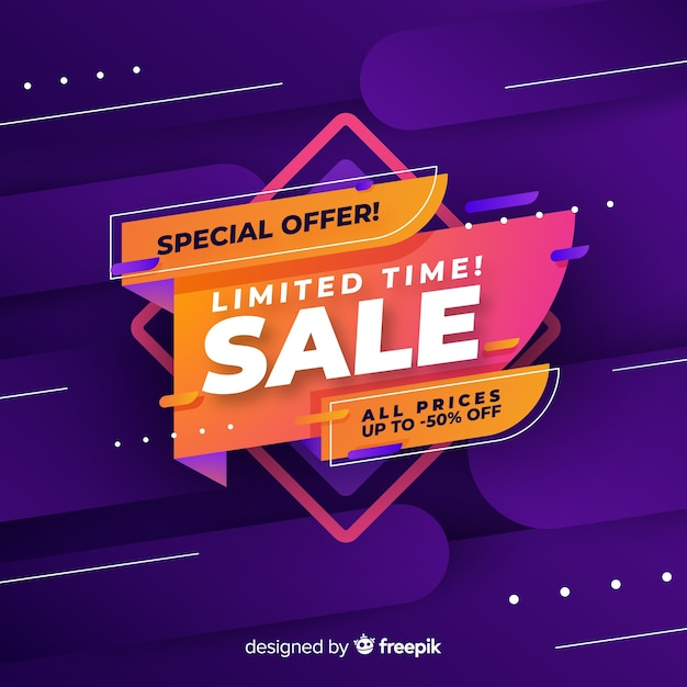 Colorful sales background geometric  style Free Vector
