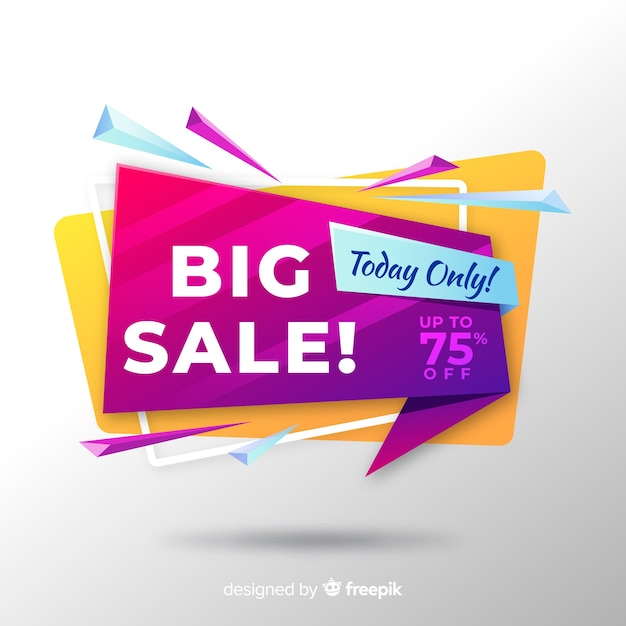 Colorful sales background origami style Free Vector