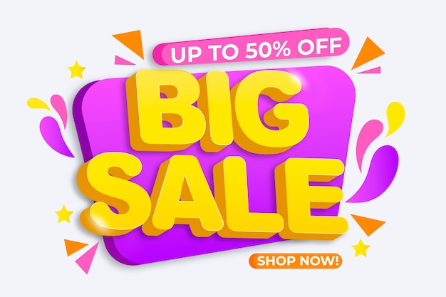 Colorful sales background with big sale Free Vector