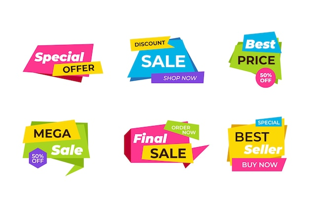 Colorful sales banner collection design Free Vector