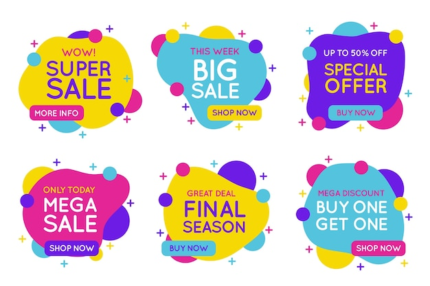 Colorful sales banners collection concept Free Vector