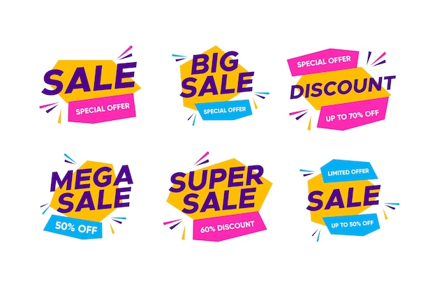 Colorful sales banners collection design Free Vector