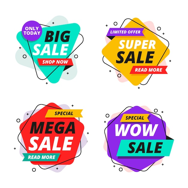 Colorful sales banners collection Free Vector