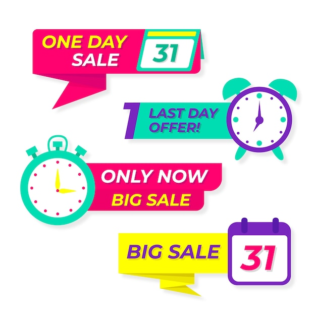 Colorful sales countdown banner collection Free Vector