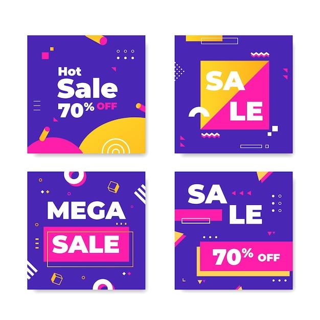 Коллекция красочных продаж ig post Бесплатные векторы