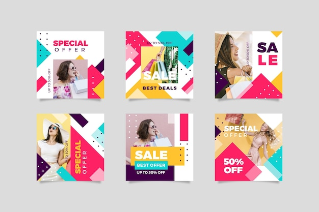 Colorful sales instagram post set Free Vector