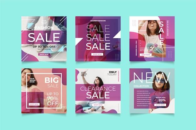 Набор красочных продаж instagram Бесплатные векторы