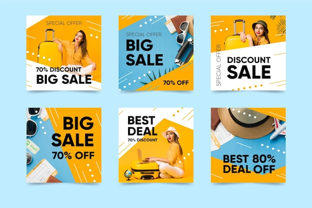 Colorful sales instagram posts Free Vector