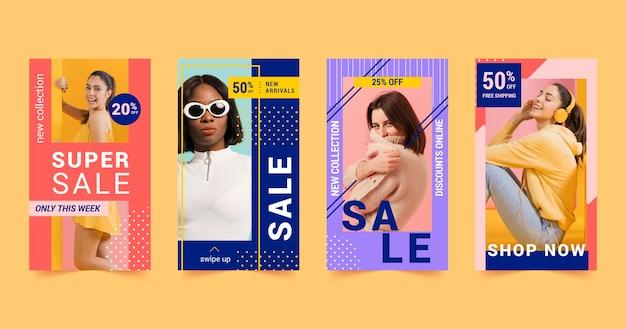 다채로운 판매 인스 타 그램 이야기 모음 무료 벡터