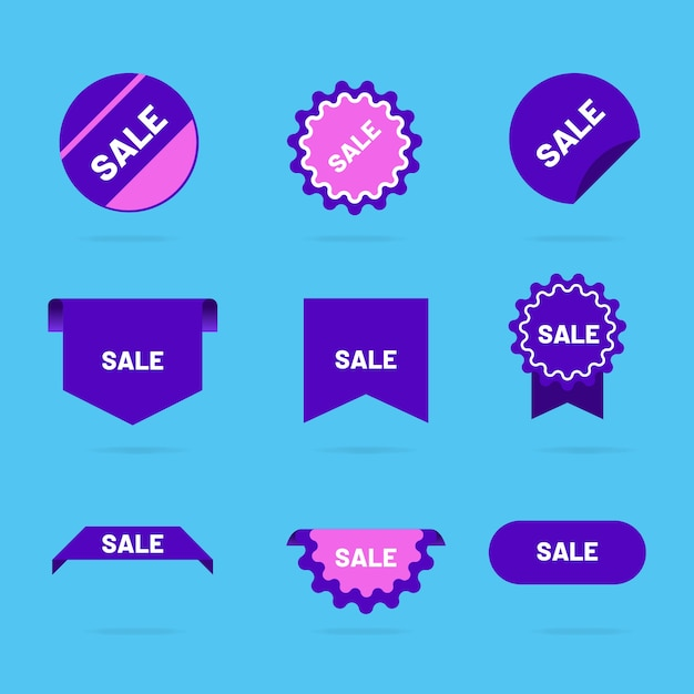 Colorful sales label collection Free Vector