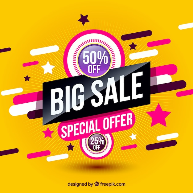 Colorful sales with modern style Free Vector