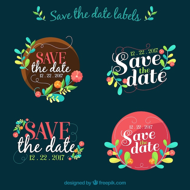 Colorful save the date labels Free Vector
